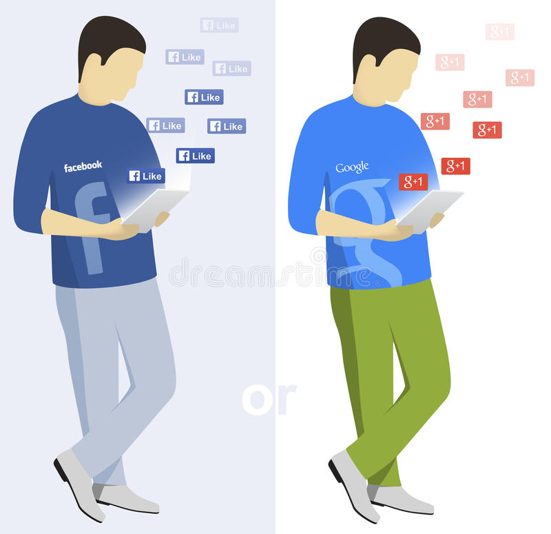 Facebook and Google users editorial image Illustration of plus