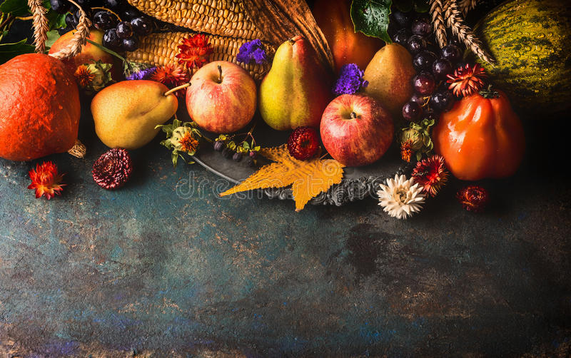 Fall Leaves Wallpaper Border Fall Fruits And Vegetables On Dark Rustic Wooden