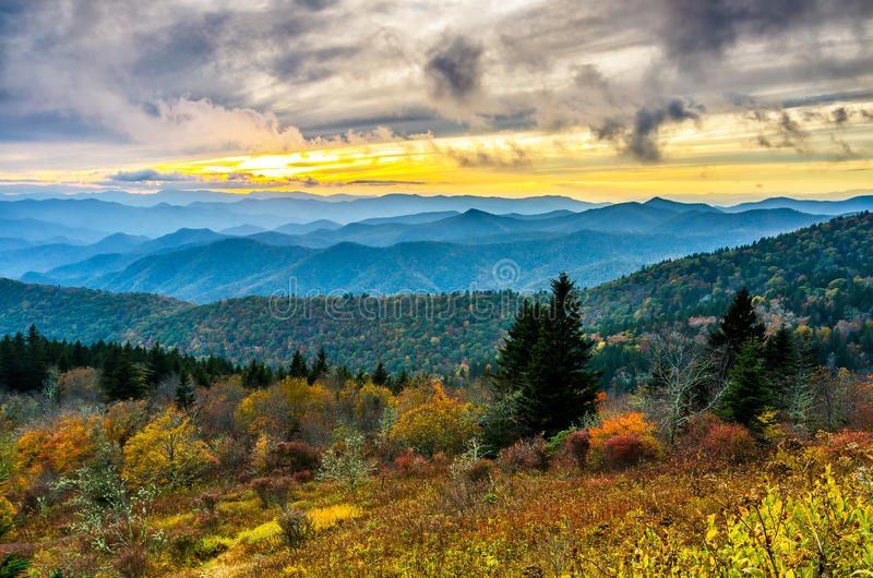 Smoky Mountains Fall Wallpaper Fall Sunset Cowee Mountains Blue Ridge Parkway Stock