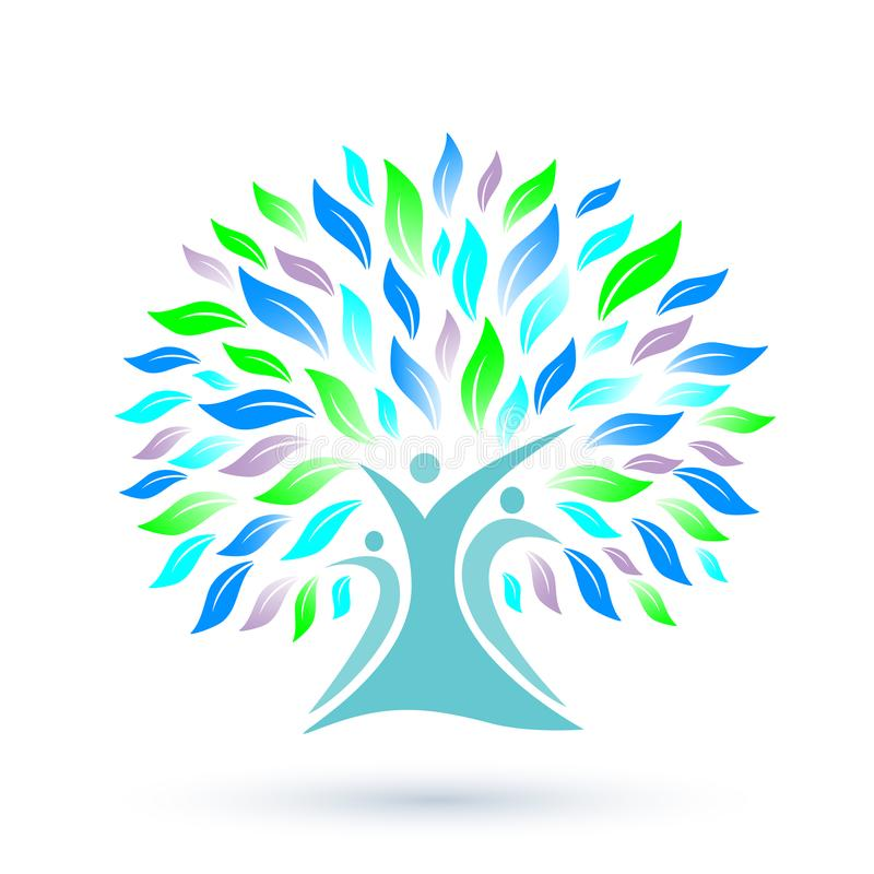 Family Tree Logo With Colorful Leaves On White Background Stock