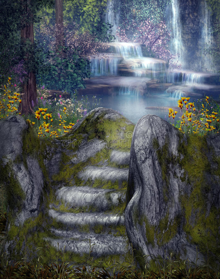 Animated Waterfalls Wallpapers Free Download Fantasy Waterfalls Stock Illustration Illustration Of
