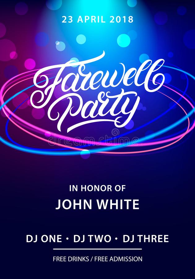 Farewell Party Hand Written Lettering Stock Vector - Illustration