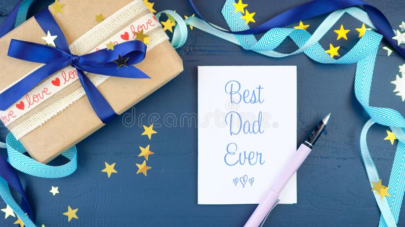 Father`s Day Overhead With Decorated Borders On Dark Blue Wood - 's day borders