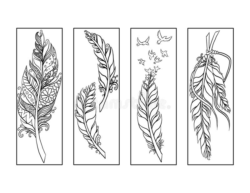 Feather Bookmarks Coloring Page Stock Illustration - Illustration of - bookmark coloring pages