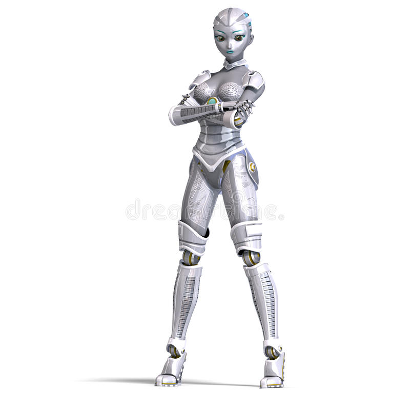 Droid 2 Wallpapers Girl Female Metallic Robot 3d Rendering With Stock