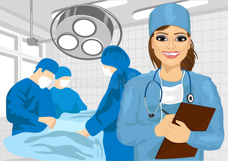 Female Surgical Nurse In Operating Room Holding Clipboard Stock