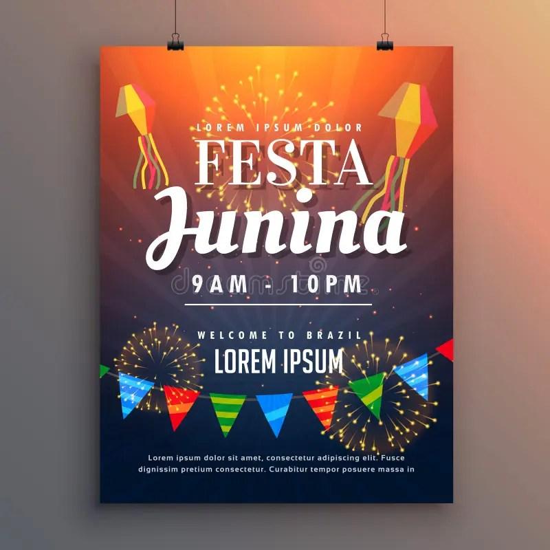 Festa Junina Party Invitation Flyer Design With Fireworks Stock - invitation flyer sample