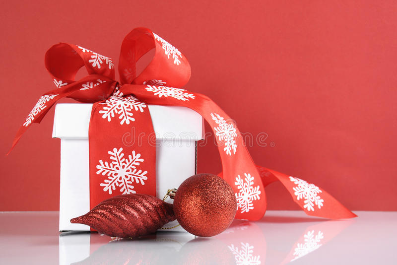 Festive Red And White Theme Christmas Gift Box Stock Image - Image