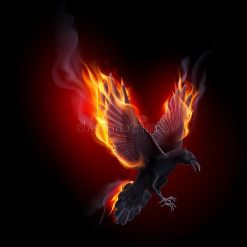 Danger 3d Wallpaper Download Fire Raven Stock Vector Illustration Of Bird Character