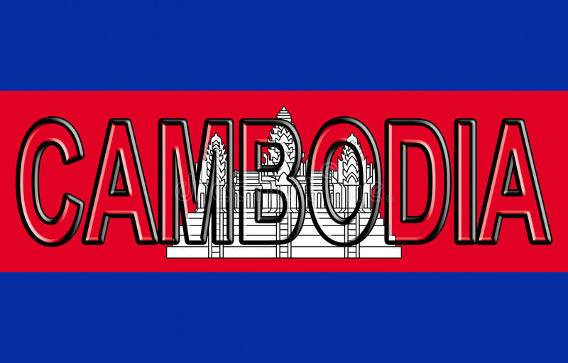 Flag of Cambodia Word stock illustration Illustration of word