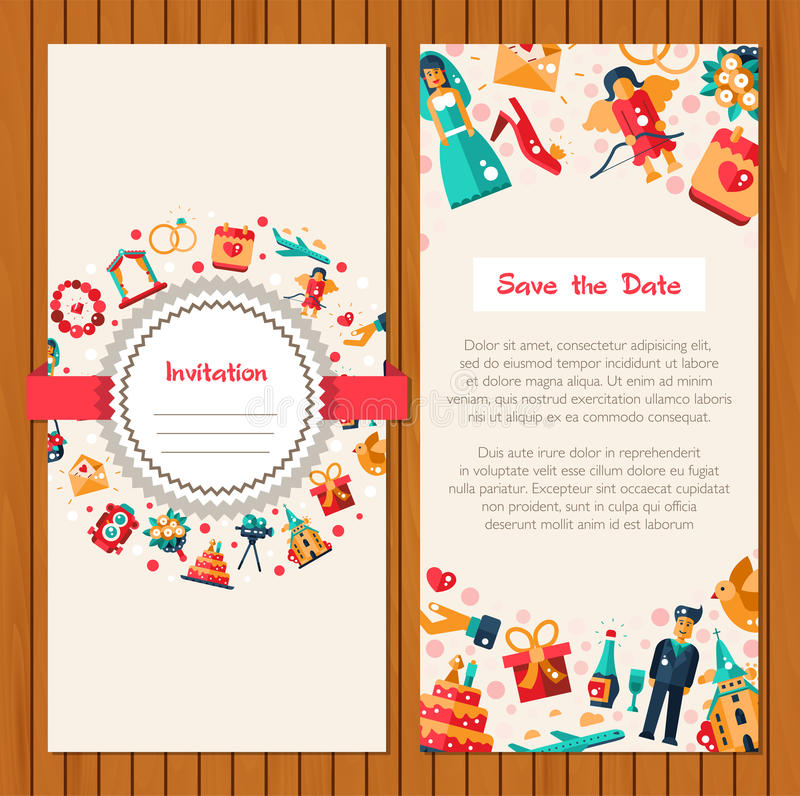 Flat Design Wedding And Marriage Invitation Card Template Stock