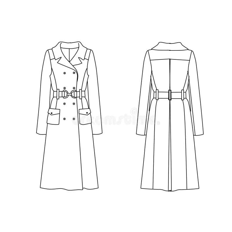 Flat Fashion Template - Trench Coat Stock Illustration - fashion template