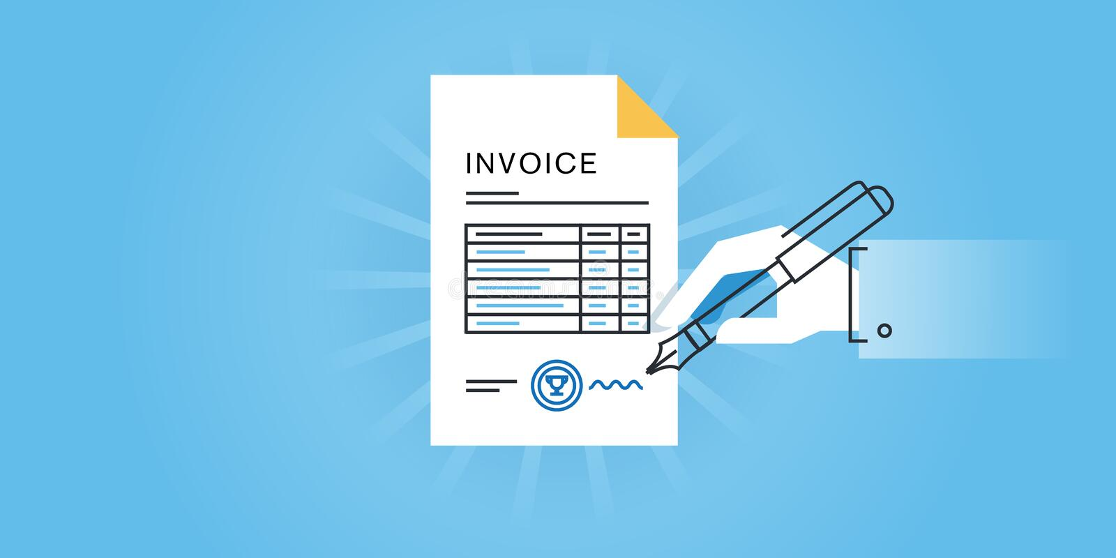Flat Line Design Website Banner For An Invoice, Online Invoice - invoice generator software