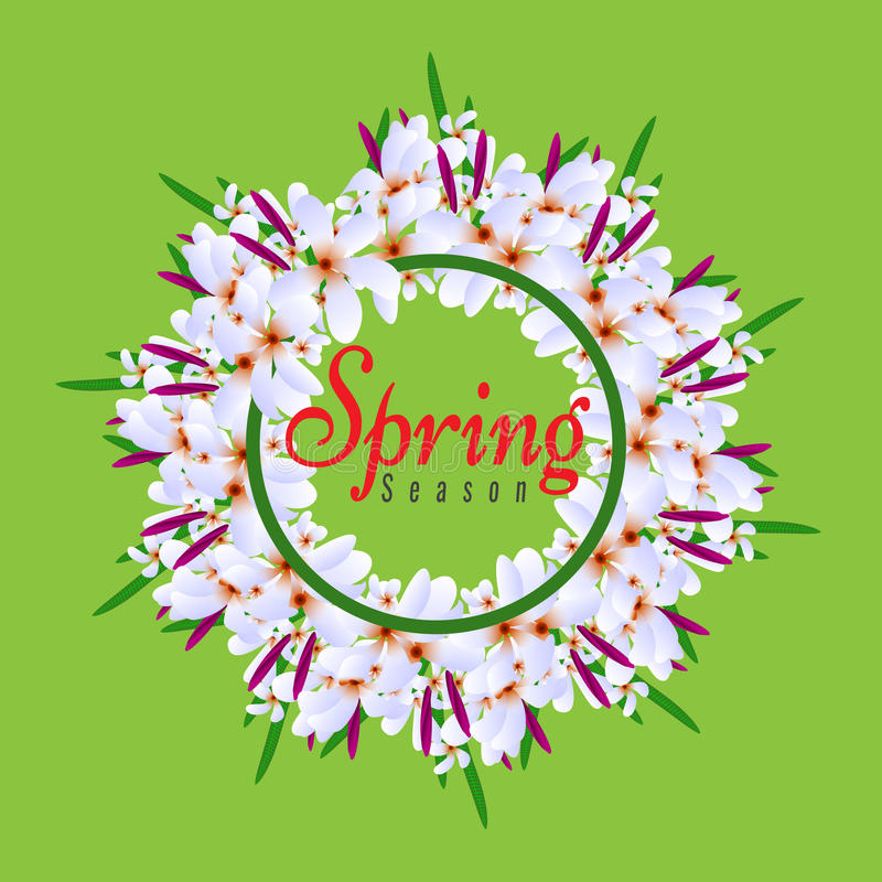 Floral Spring Graphic Design Round Circle Border With Colorful - solid green border
