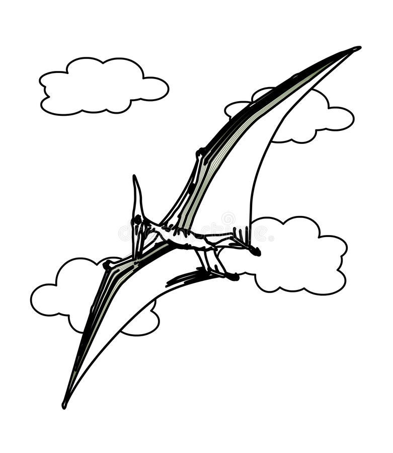 Flying Dinosaur Coloring Page Stock Illustration - Illustration of - coloring dinosaur