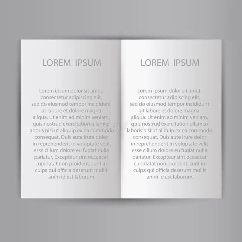 Folded Sheet Of Paper Blank Brochure Template Stock Vector