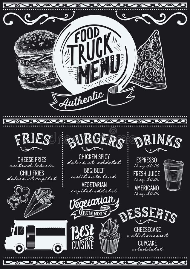 Food truck menu template stock vector Illustration of illustration - food truck menu template