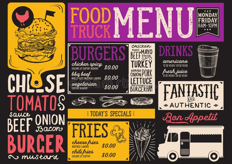Food truck menu template stock vector Illustration of background - food truck menu template