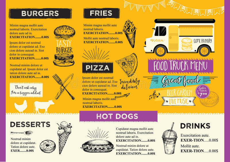 Food Truck Party Invitation Food Menu Template Design Food Fly - food menu template