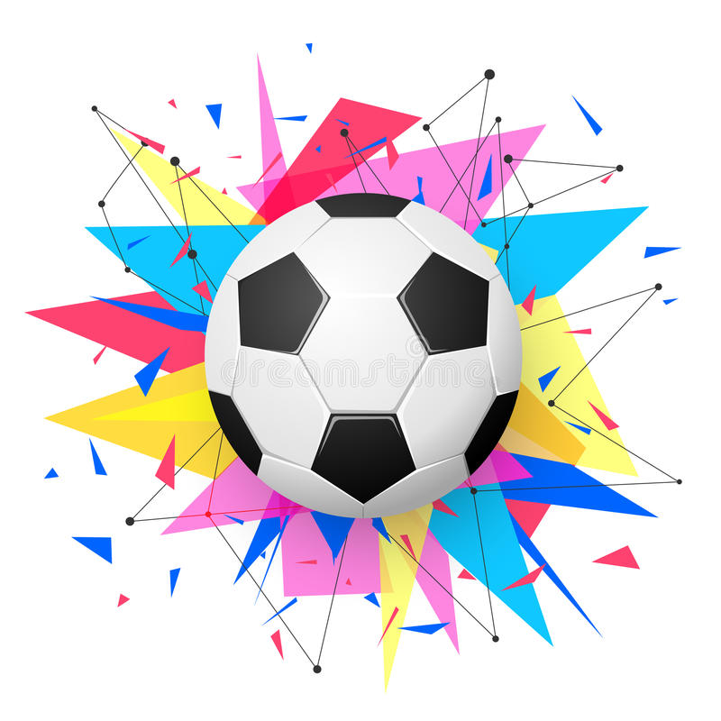 Football Emblem Template Soccer Ball With Colorful Geometric