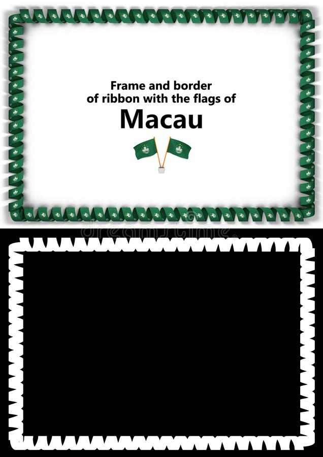 Frame And Border Of Ribbon With The Macau Flag For Diplomas - congratulations certificate