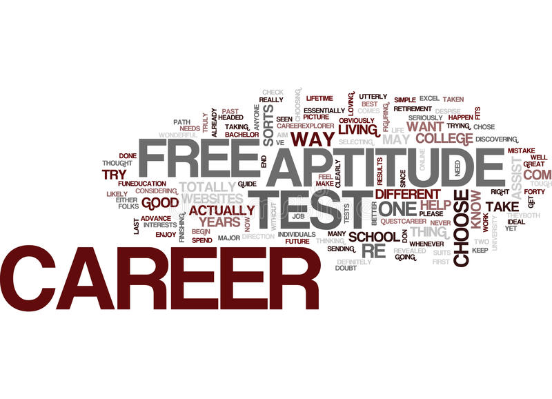 Free Career Aptitude Test Text Background Word Cloud Concept Stock - free career aptitude test