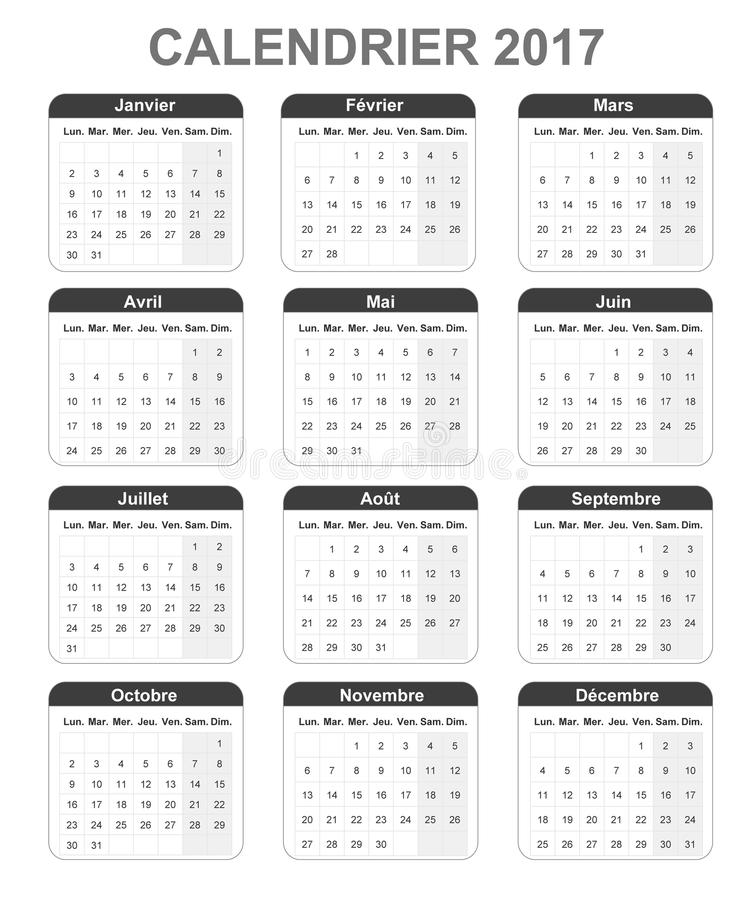 French Monthly Simple Calendar For 2017, Monday To Sunday Stock - monday sunday calendar