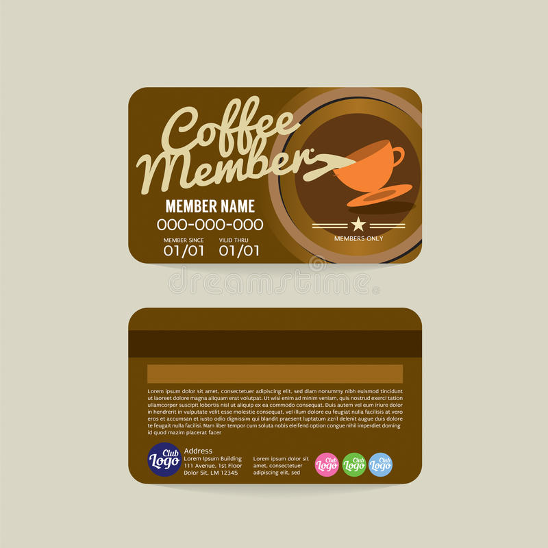 Front And Back Coffee Voucher Of Member Card Template Stock Vector