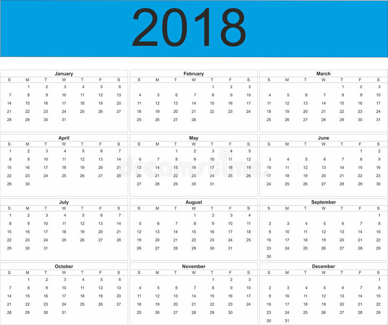 2018 Full Year Calendar stock illustration Illustration of year