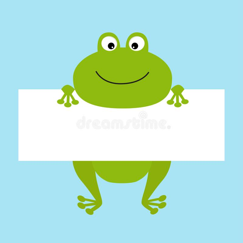 Funny Frog Hanging On Paper Board Template Big Eyes Kawaii Animal - frog body