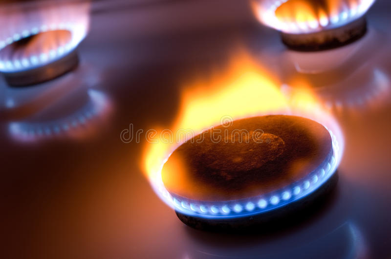 Gas Burner With Yellow Flame Stock Image Image Of Blue