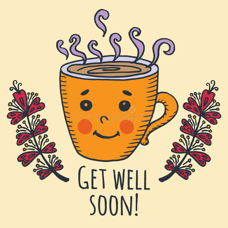 Get Well Soon Card With Cup Of Tea Stock Illustration - Illustration - get well soon card
