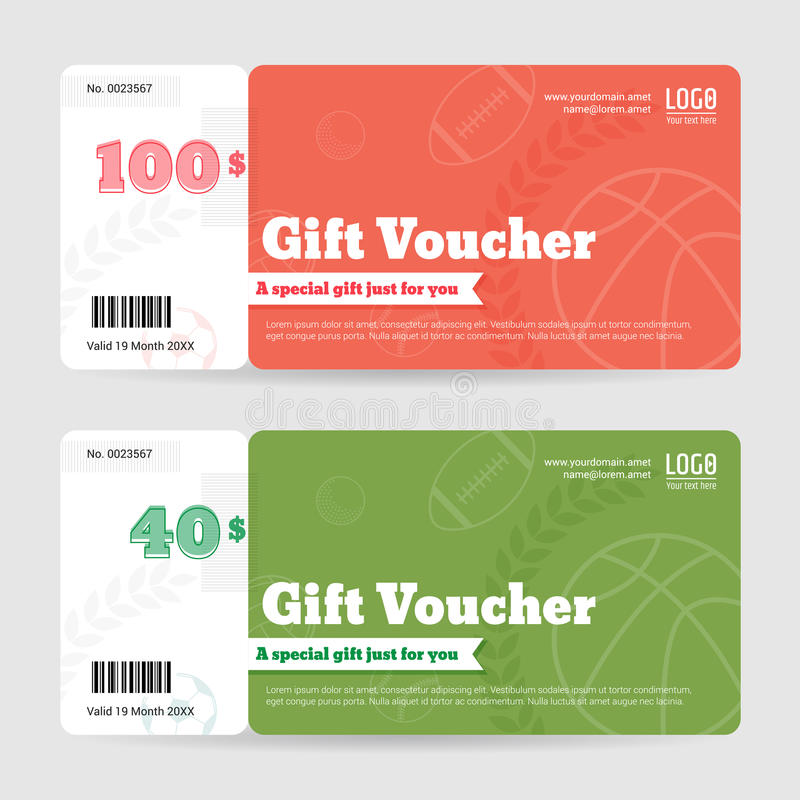 Gift Certificate, Voucher, Coupon Template In Sport Theme Stock - gift certificate voucher template