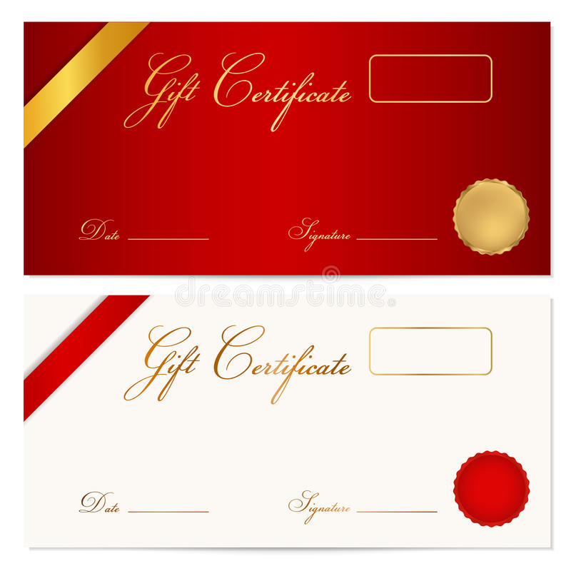 Gift Certificate (Voucher) Template Wax Seal Stock Vector