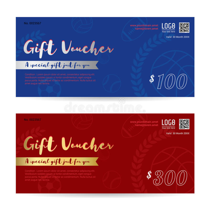 Gift Voucher, Gift Certificate, Gift Card Template In Sport Theme - gift card template