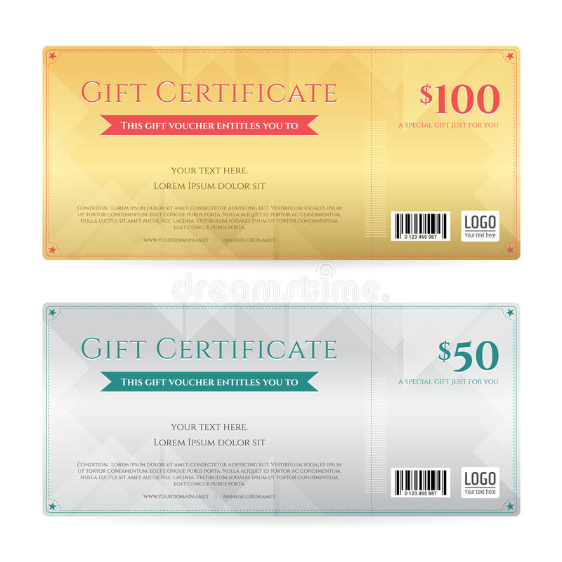 Gift Voucher Or Gift Certificate Template In Luxury Gold And Sil - gift certifcate template