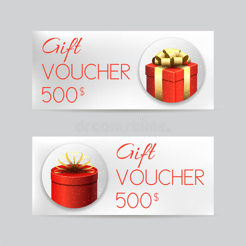 Gift Voucher Template With Christmas Gifts Stock Vector - christmas gift vouchers templates