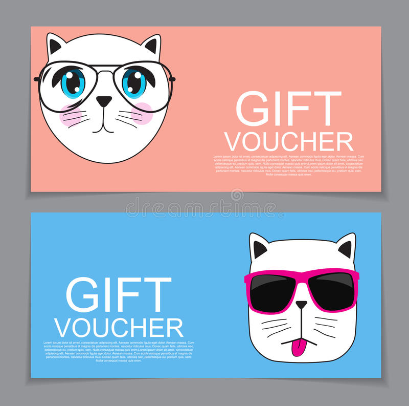 Gift Voucher Template With Cute Hand Drawn Cat Discount Coupon V