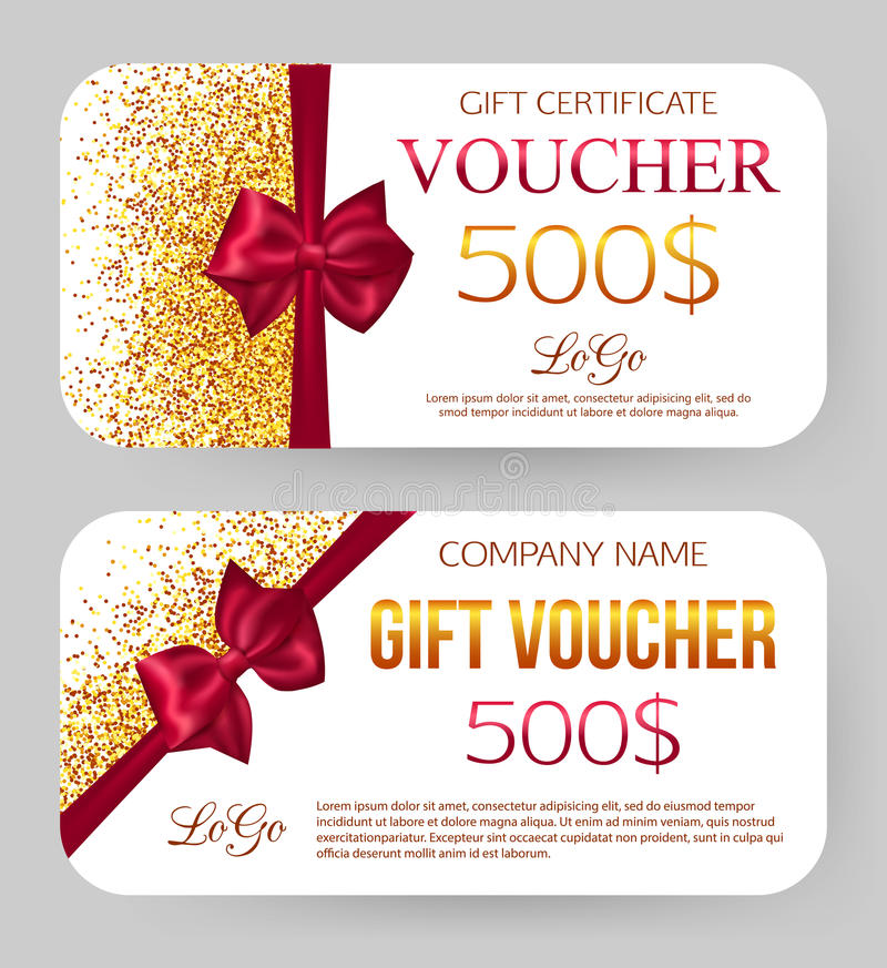 Gift Voucher Template Golden Design For Gift Stock Vector - gift voucher template