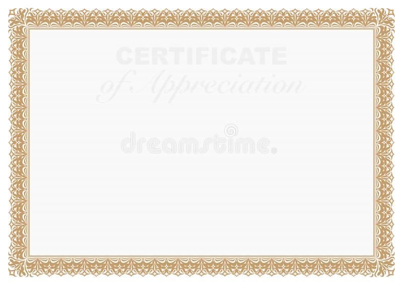 Gold Border Certificate Of Appreciation With Security Printing Stock