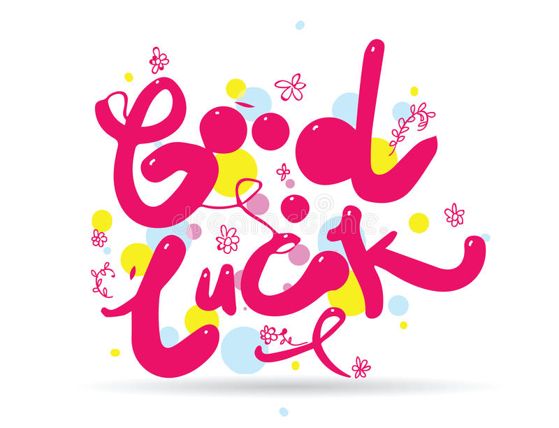Good Luck Phrase For Greeting Cards And Print Elements Hand Drawn - good luck cards to print