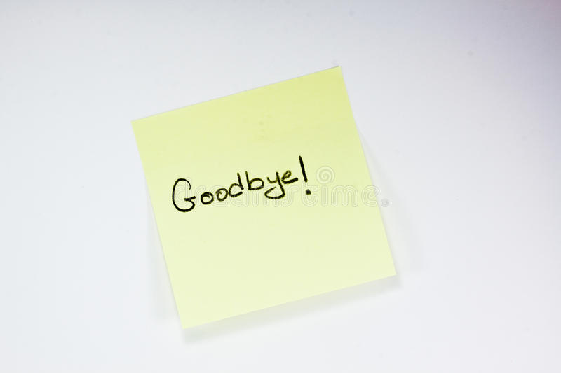 Goodbye note stock photo Image of paper, writing, object - 15118674 - goodbye note