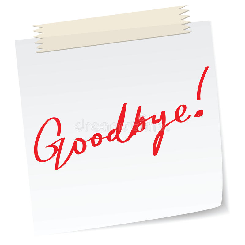 Goodbye note stock photo Image of greeting, regards - 21992536 - goodbye note