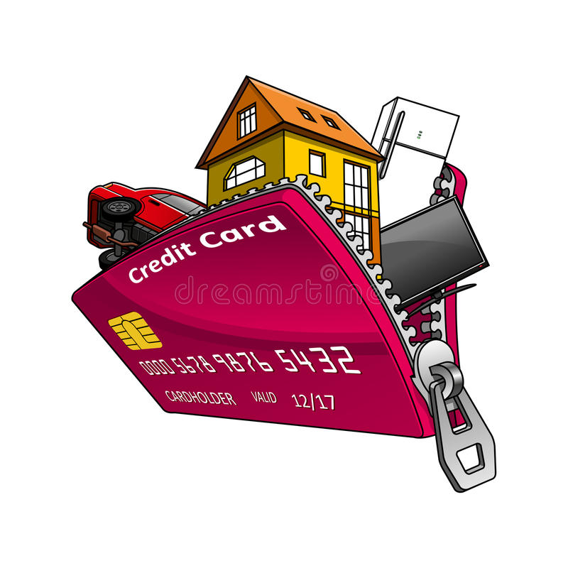 Goods Inside Credit Card With Zipper Stock Vector - Image 60780887 - home design credit card