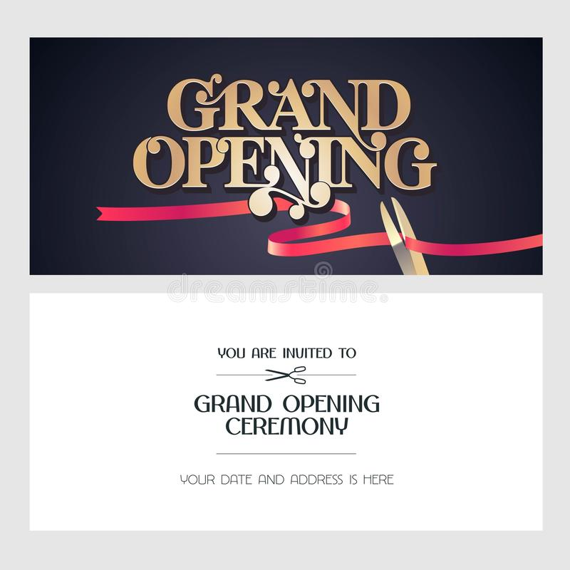 Grand Opening Vector Illustration, Background, Invitation Card Stock - Grand Opening Flyer