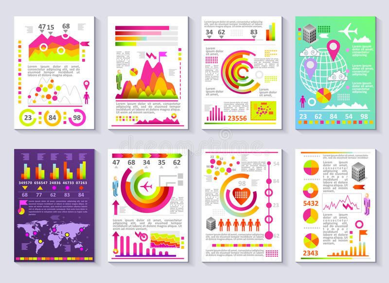 Graphical Business Report Vector Template Modern Infographic Set - company report template