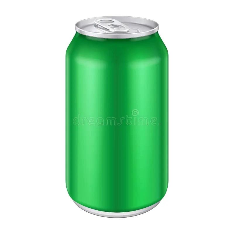 Green Metal Aluminum Beverage Drink Can 500ml Stock Vector