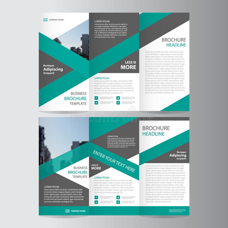 Green Trifold Annual Report Leaflet Brochure Flyer Template Design