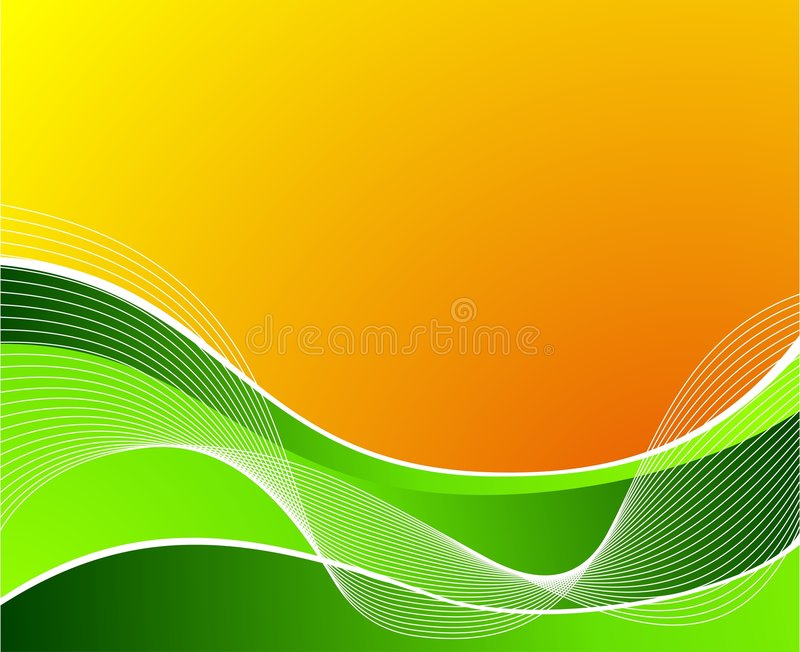 Green Wave On Orange Background With White Waves Stock Vector