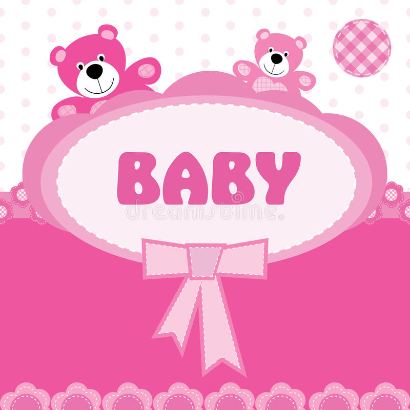 Greeting Card With The Birth Of A Baby Girl Stock Vector - Birth Of Baby Girl